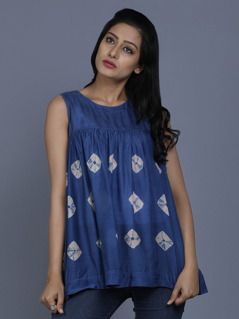 Blue Cotton Silk Bandhej Top