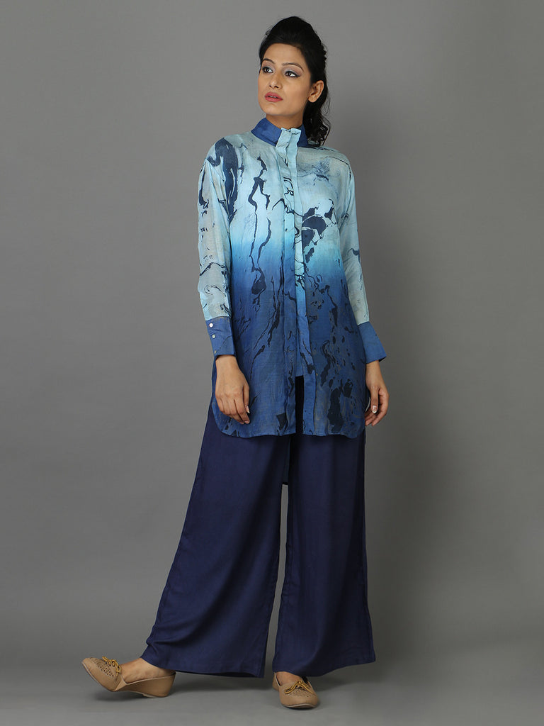 Blue Cotton Silk Marble Effect Shirt