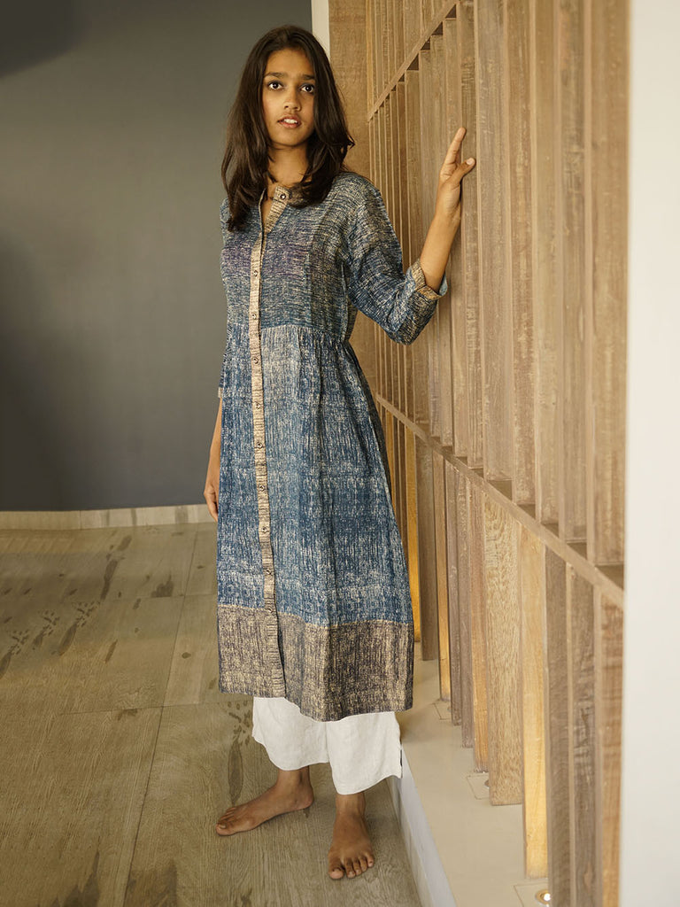 Blue Cotton Silk Printed Kurta