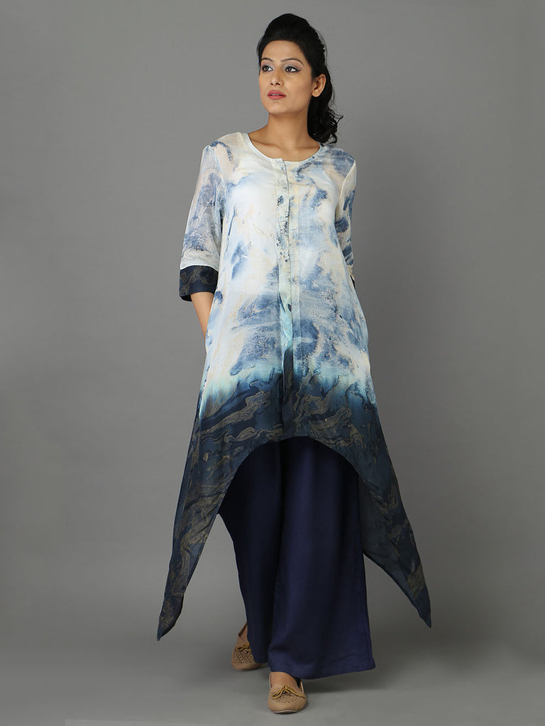 Blue Cotton Silk Tunic