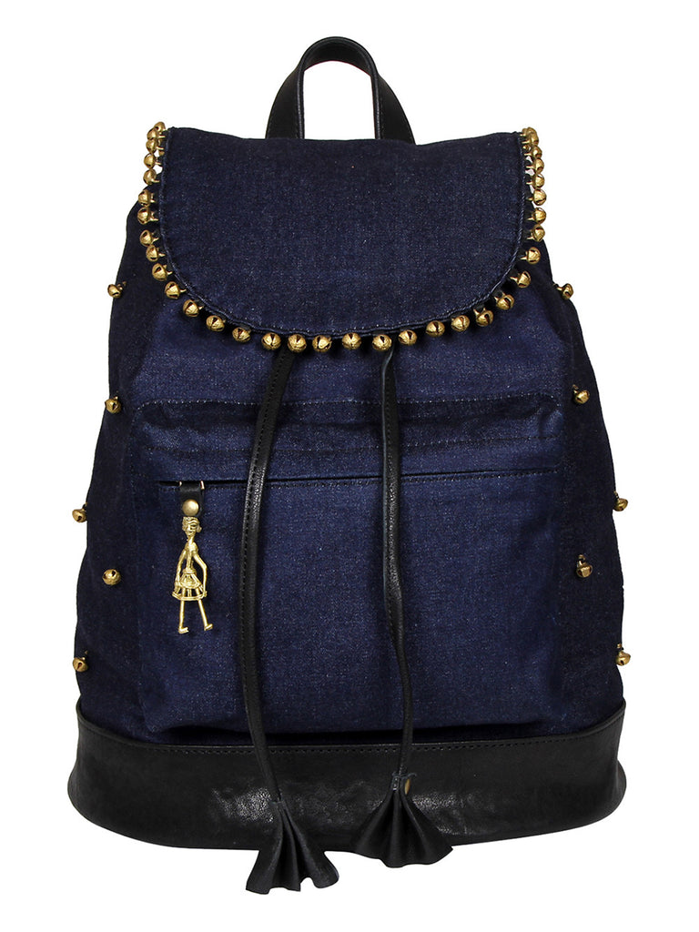 Blue Denim Leather Backpack