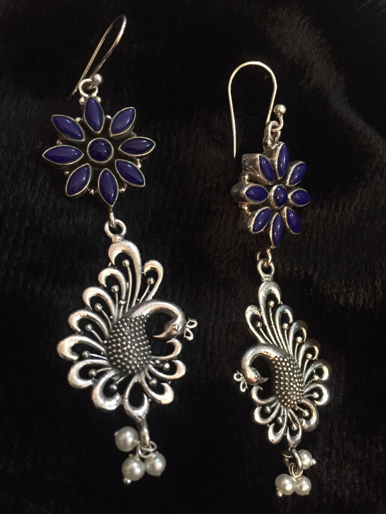 Blue Flower Peacock Silver Earrings