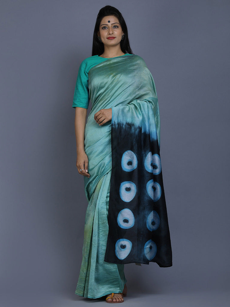 Blue Green Indigo Clamp Dyed Chanderi Silk Peacock Saree