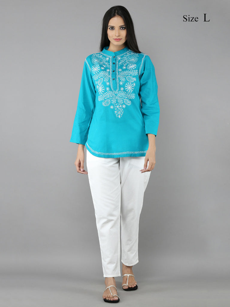 Blue Green Lucknowi Hand Emroidered Cotton Shirt