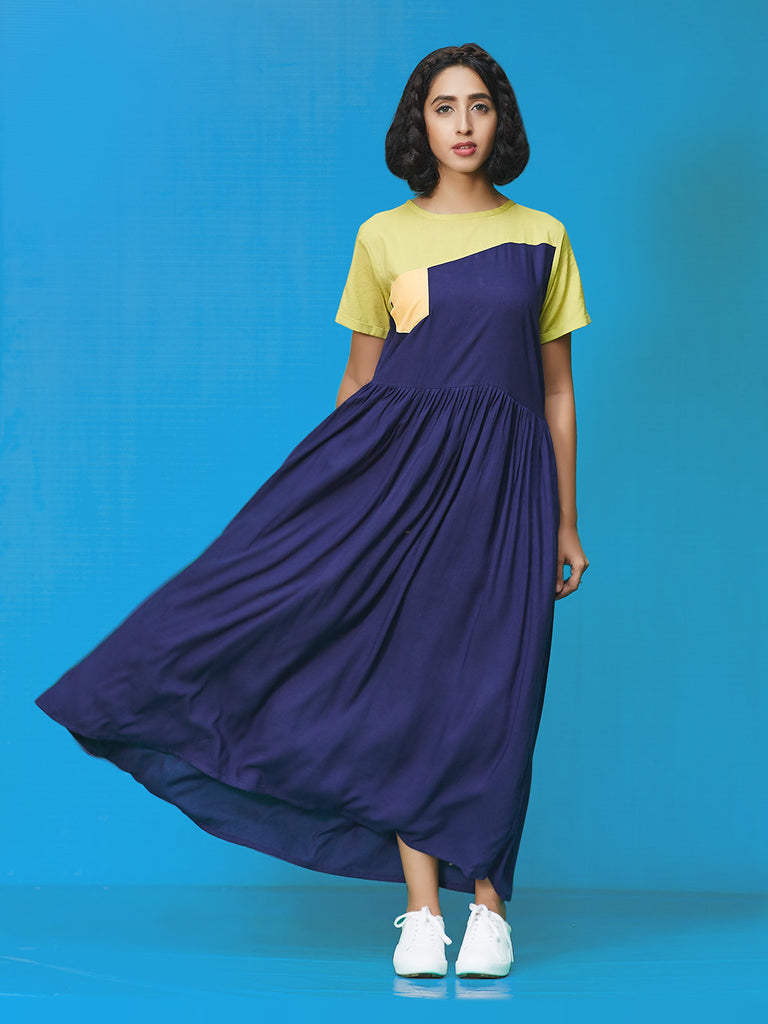 Blue Green Yellow Rayon Cotton Midi