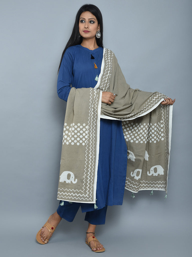 Blue Grey Cotton Kurta and Pants with Block Printed Dupatta- Set of 3