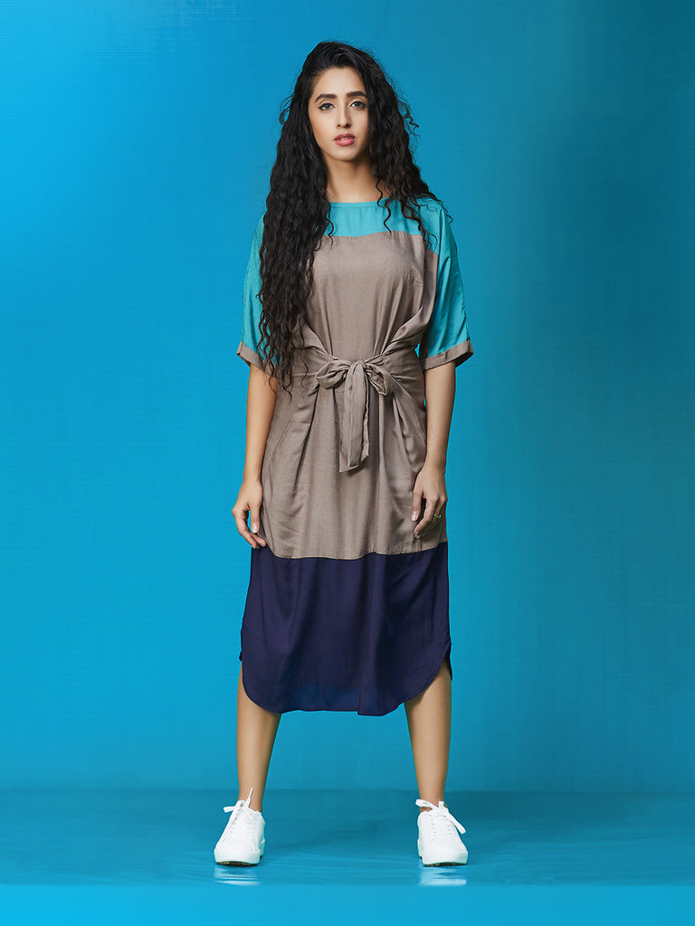 Teal Grey Navy Rayon Cotton Midi