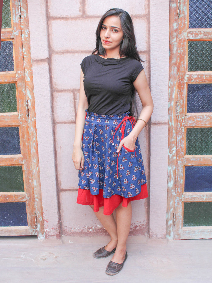 Blue Hand Block Printed Cotton Skirt