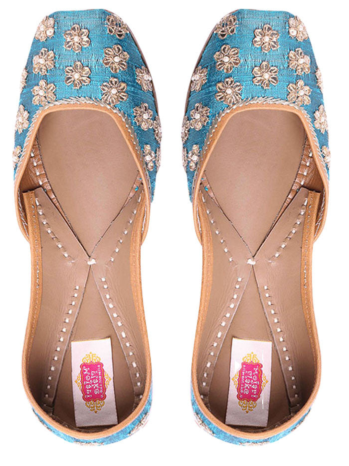 Blue Hand Embroidered Leather Mojari