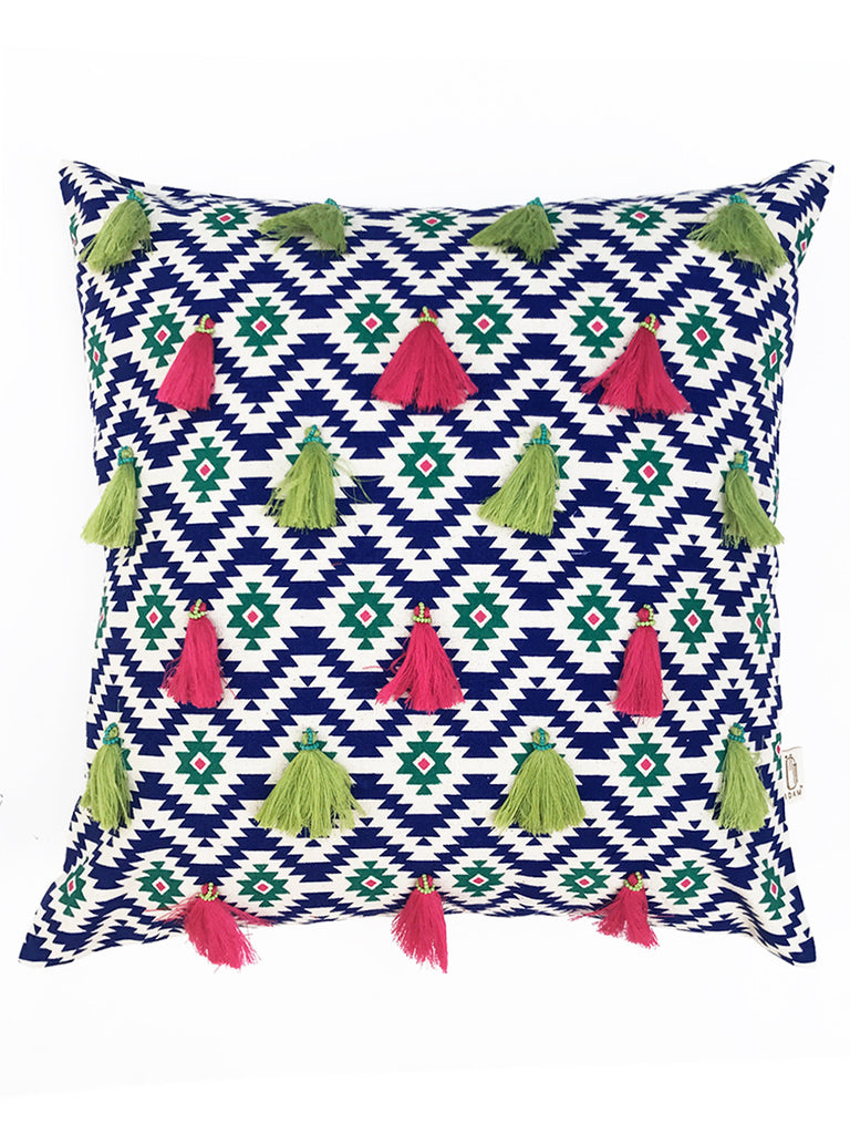 Blue Ikasa Tassel Cotton Cushion Cover