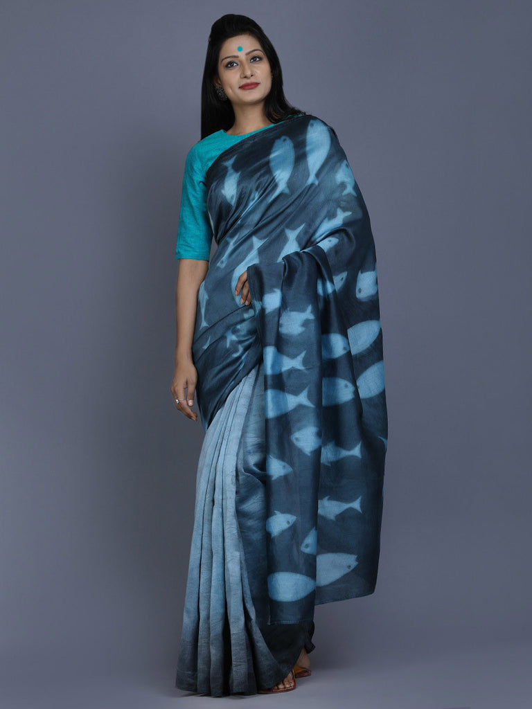 Blue Indigo Clamp Dyed Chanderi Silk Fish Saree