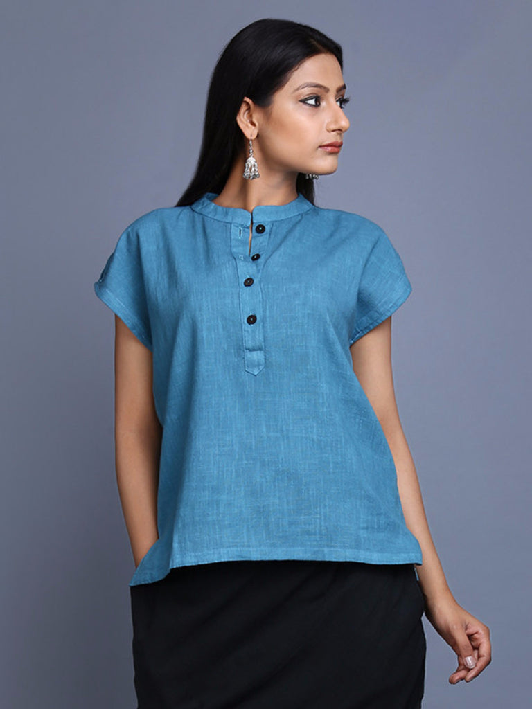 Blue Khadi Cotton Clamp Dyed Top