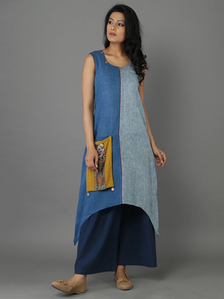 Blue Khadi Straight Fitting Kurta