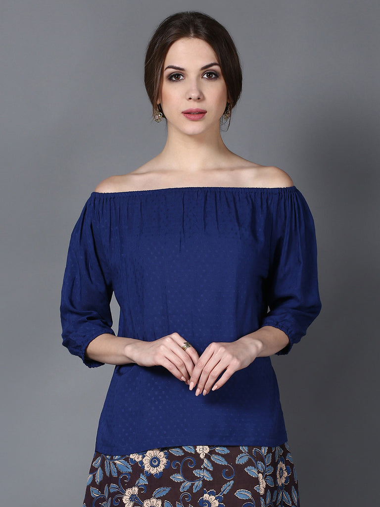 Blue Modal Off Shoulder Top