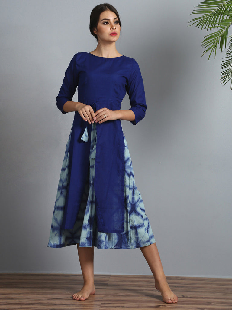 Blue Modal Silk Cotton Layered Dress