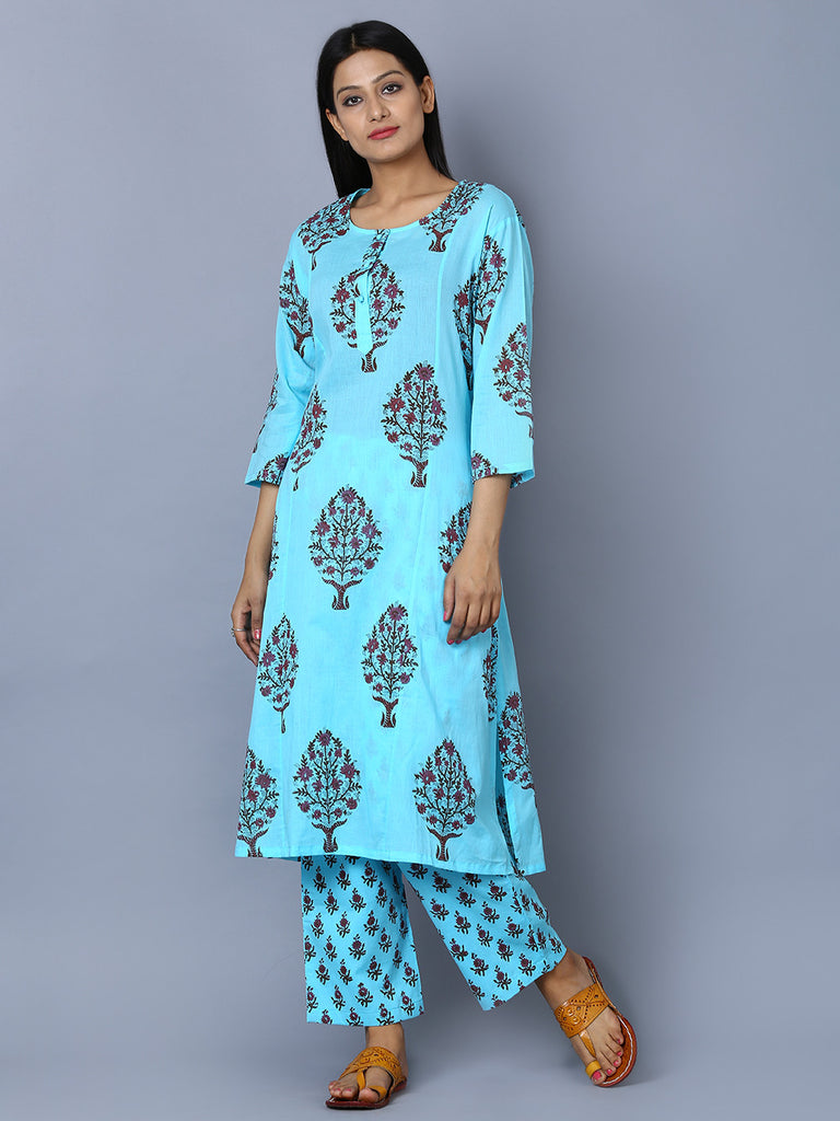 Blue Mul Cotton Block Printed Kurta