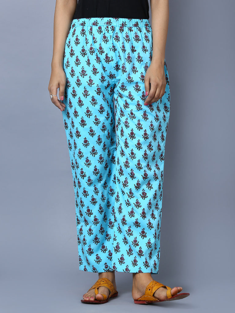 Blue Mul Cotton Block Printed Pants