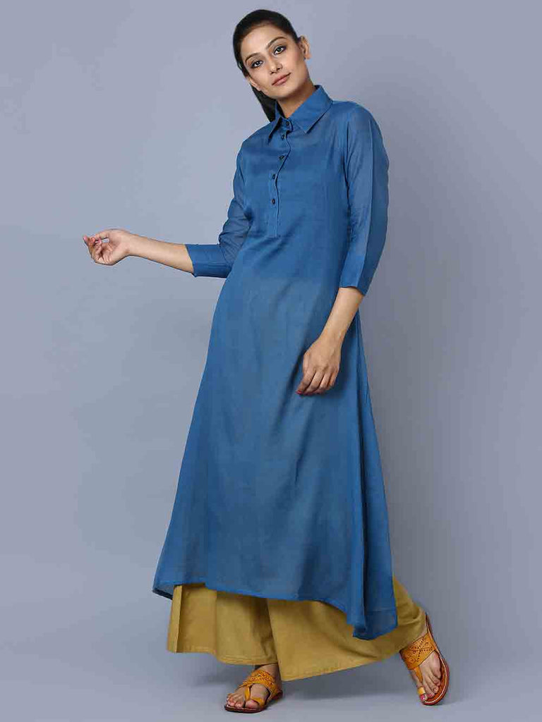 Blue Mulmul Shirt Collar Kurta