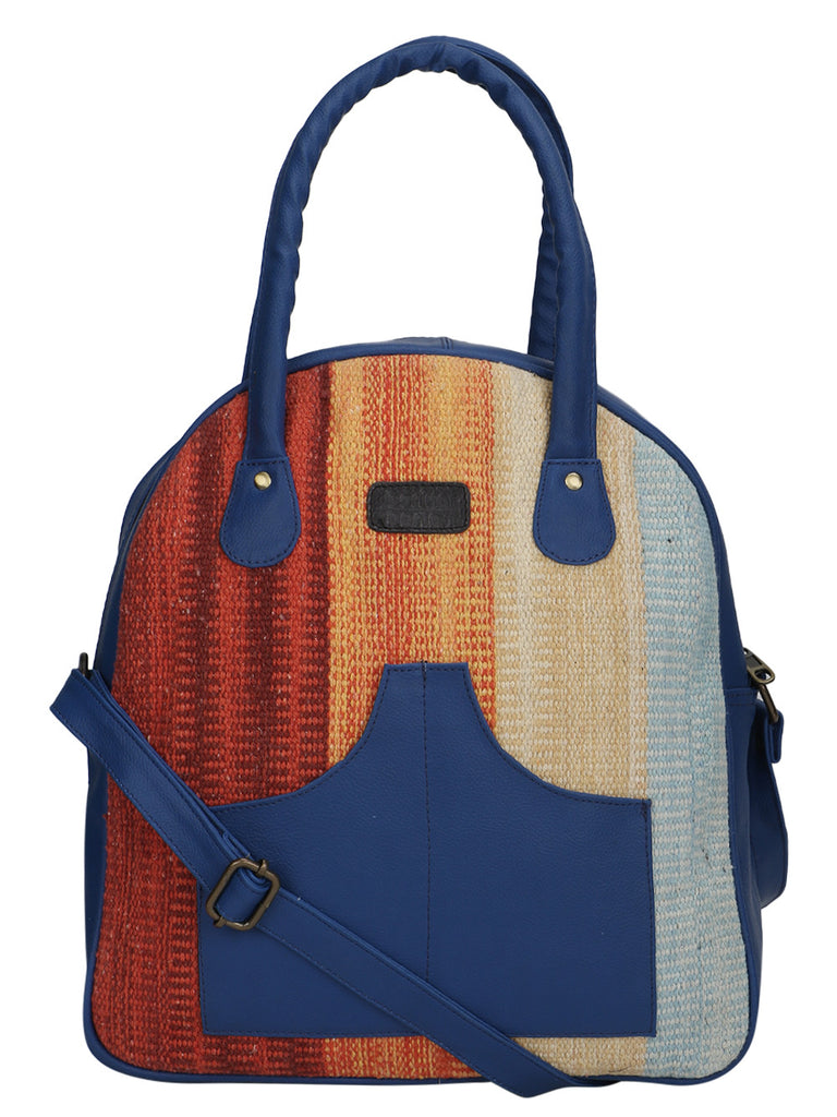 Multi Color Kilim Faux Leather Arch Bag