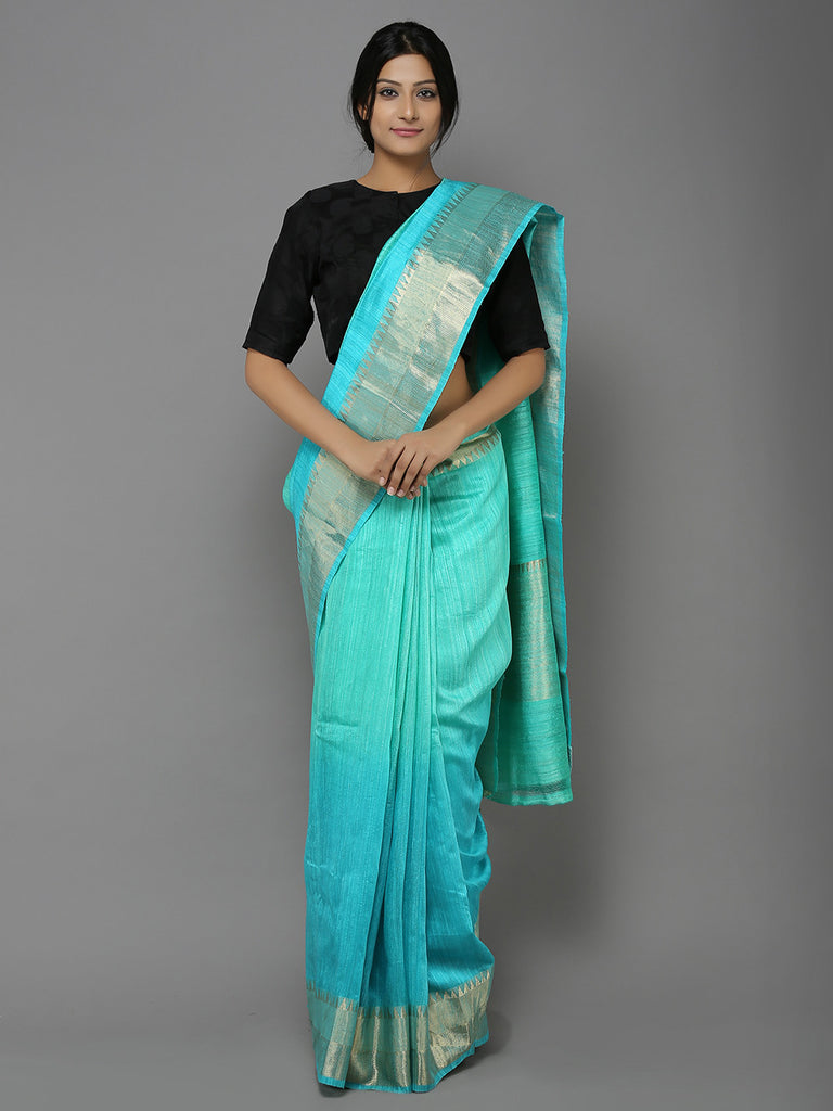 Blue Ombre Handwoven Dupion saree