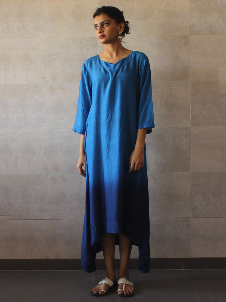 Blue Ombre Cotton Silk Tunic