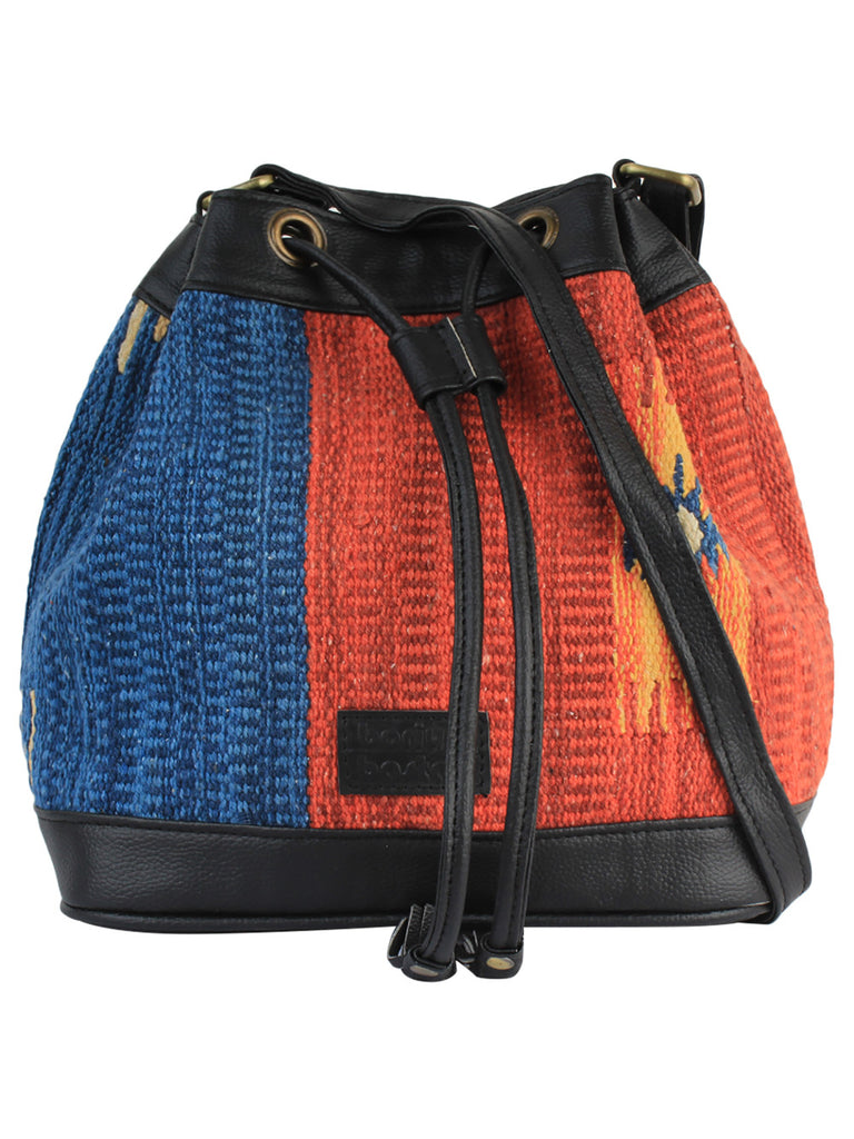 Blue Orange Black Cotton Kilim Faux Leather Bucket Bag