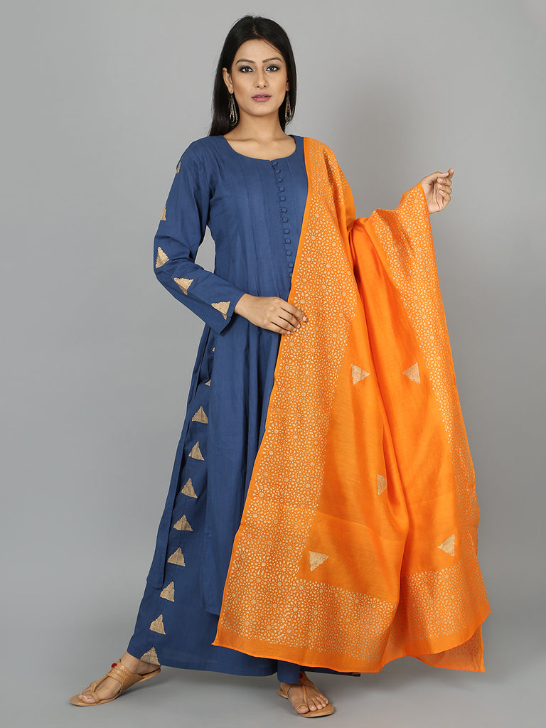 Blue Orange Cotton Anarkali Suit  - Set of 3