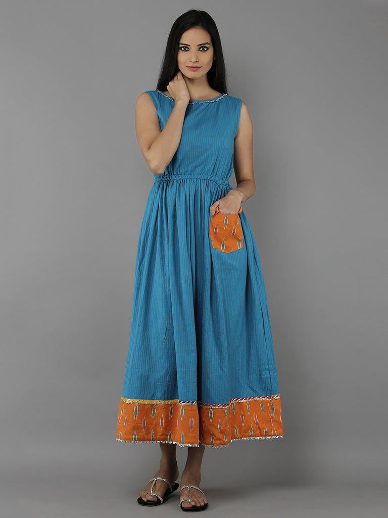 Blue Orange Cotton Handloom Dress