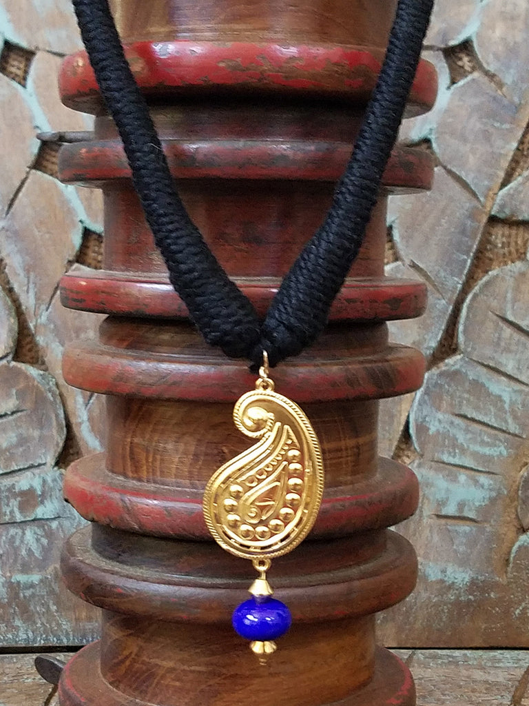 Blue Paisley Silver Pendant with Gold Plating