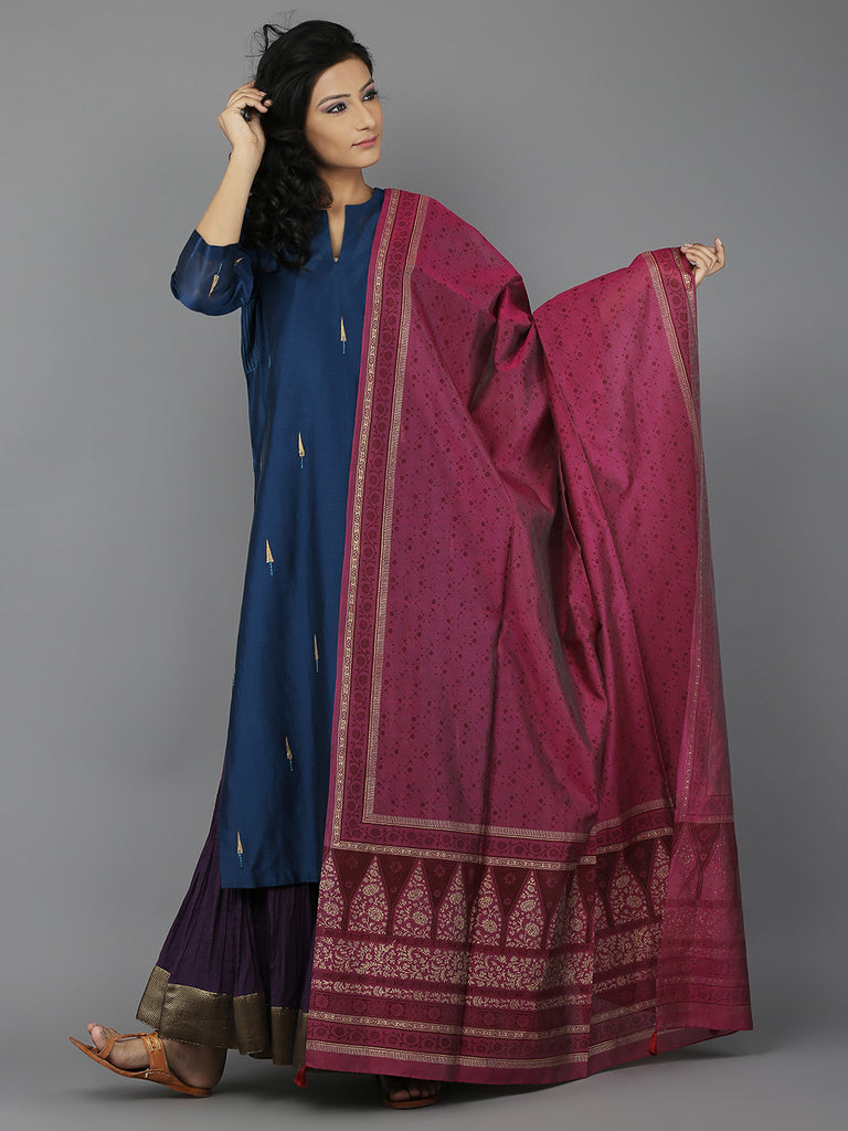 Blue-Pink-Purple Kurta, Dupatta, Lehenga and Slip - Set of 4