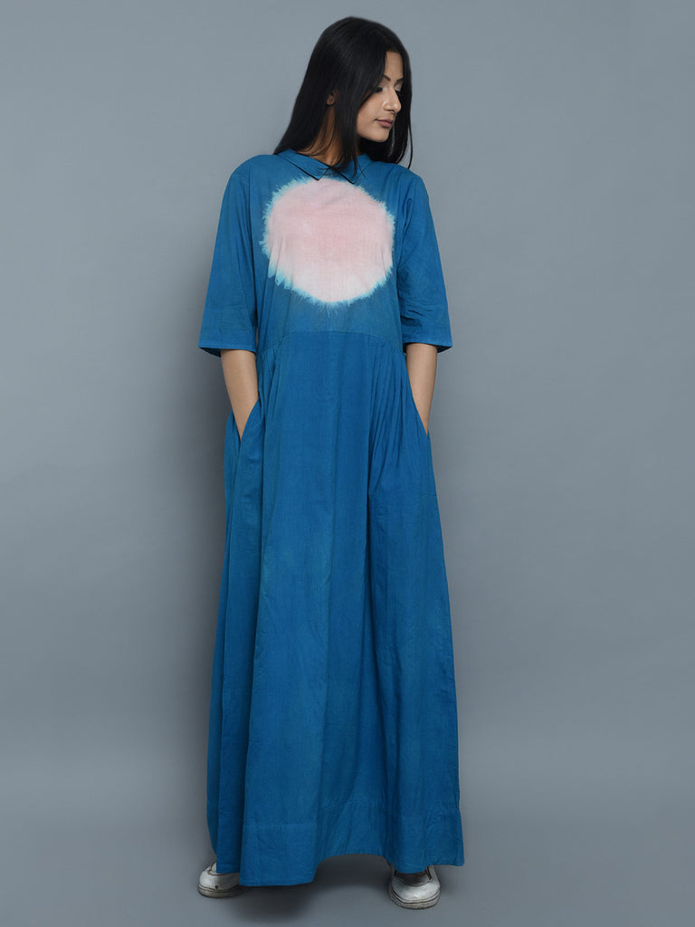 Blue Pink Cotton Clamp Dyeing Long Dress