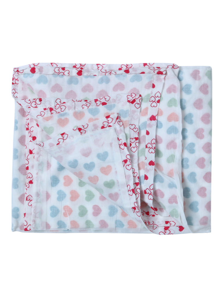Multi Color Heart Cotton Screen Printed Baby Dohar