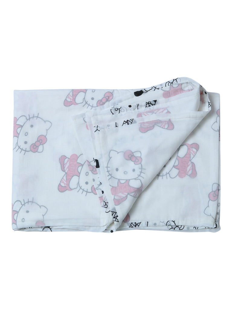 Pink White Hello Kitty Cotton Screen Printed Dohar