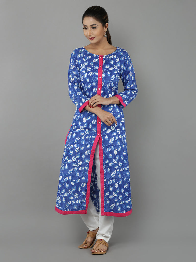 Blue Pink Hand Block Printed Cotton Kurta