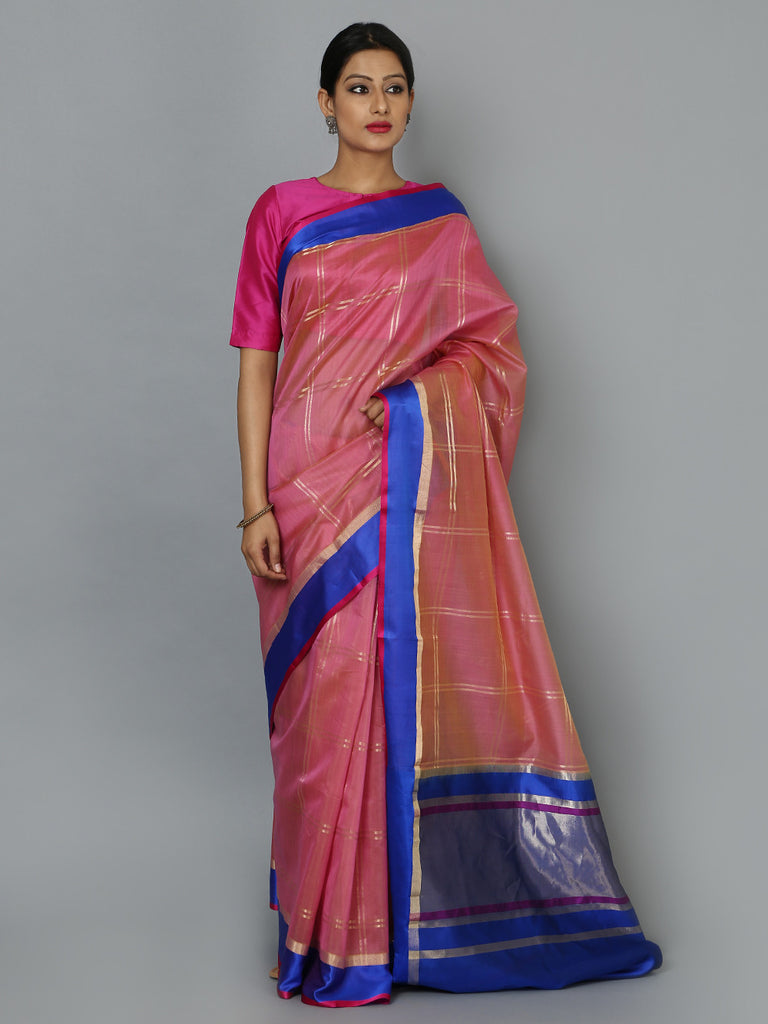 Blue Pink Hand Woven Banarasi Cotton Silk Saree