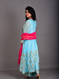 Blue Pink Handblock Printed Chanderi Kalidaar Suit -  Set of 3