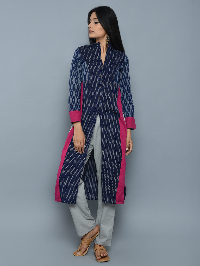 Blue Pink High Slit Ikat Cotton Kurta
