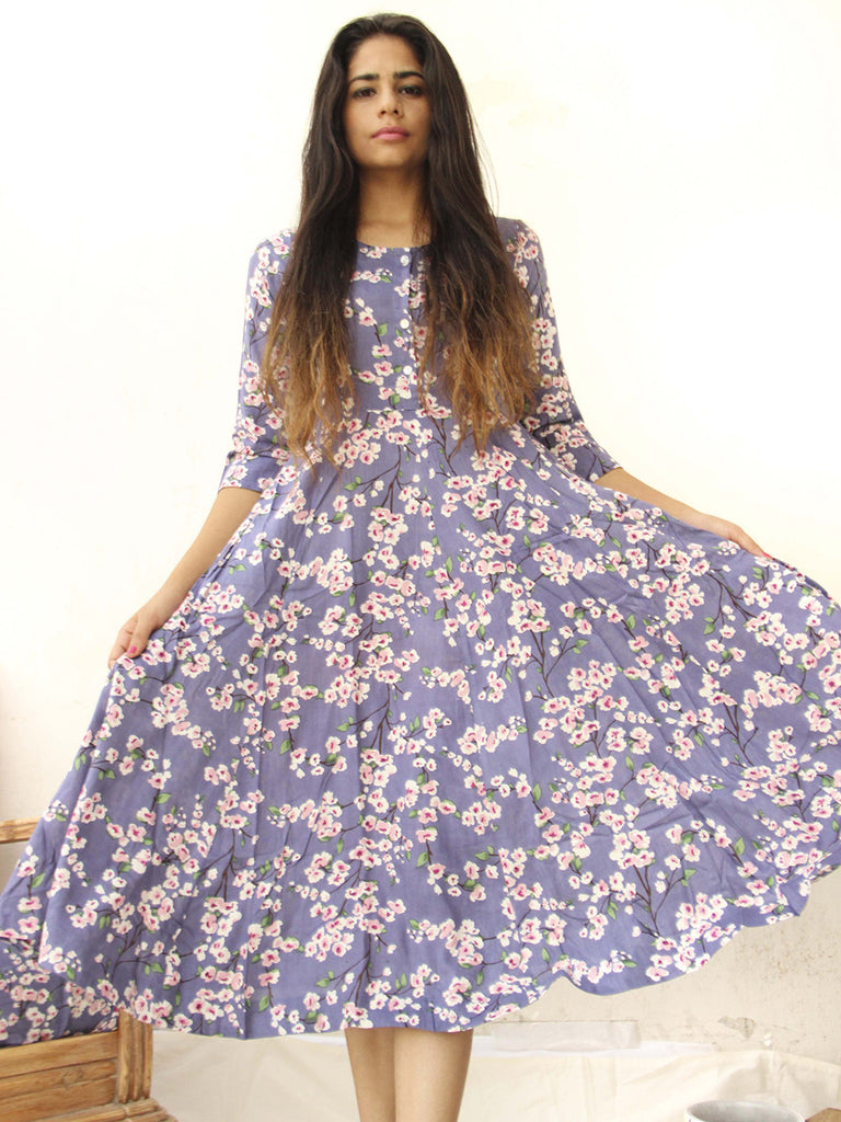 Blue Cotton Rayon Blossom Printed Midi Dress