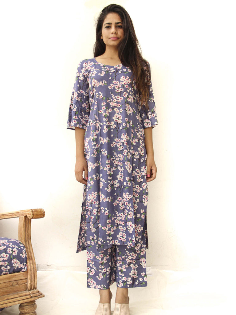 Blue Rayon Cotton Floral Printed Kurta with Palazzo - Set of 2