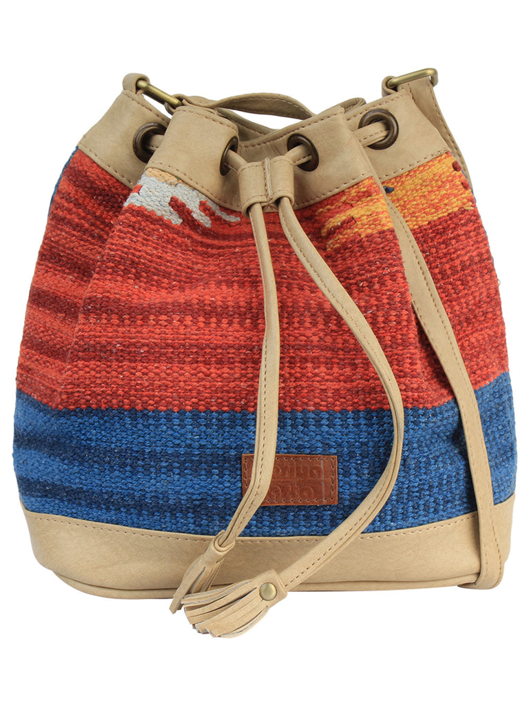 Blue Red Beige Cotton Kilim Faux Leather Bucket Bag