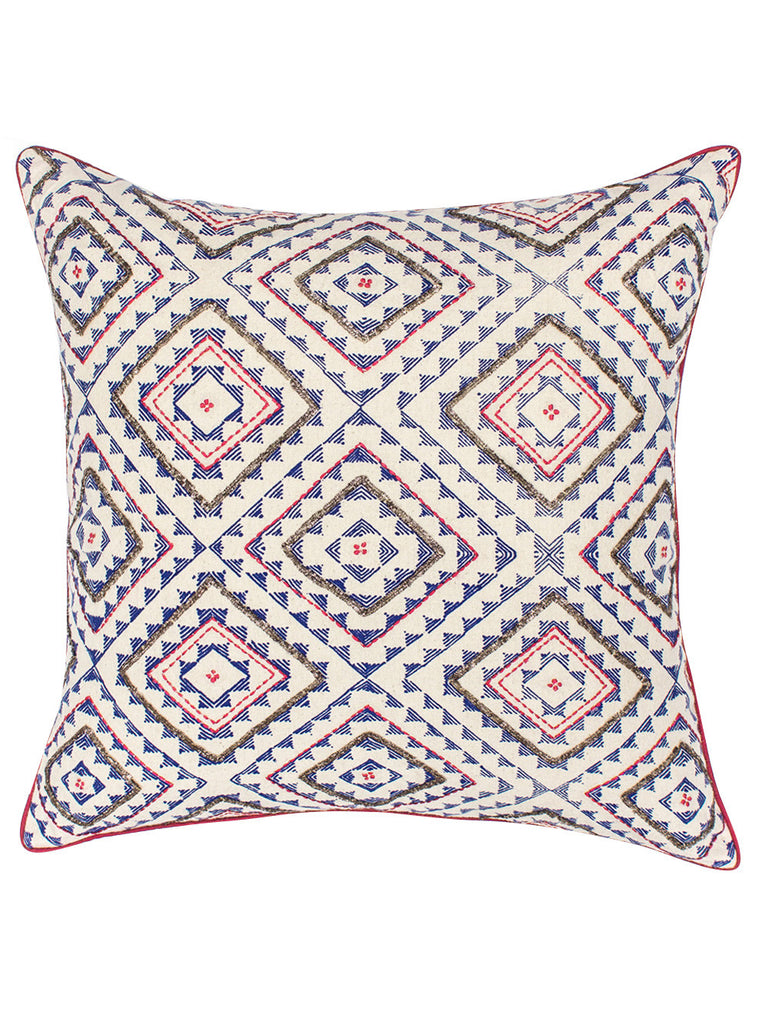 Blue Red Cotton Embroidered Cushion Cover