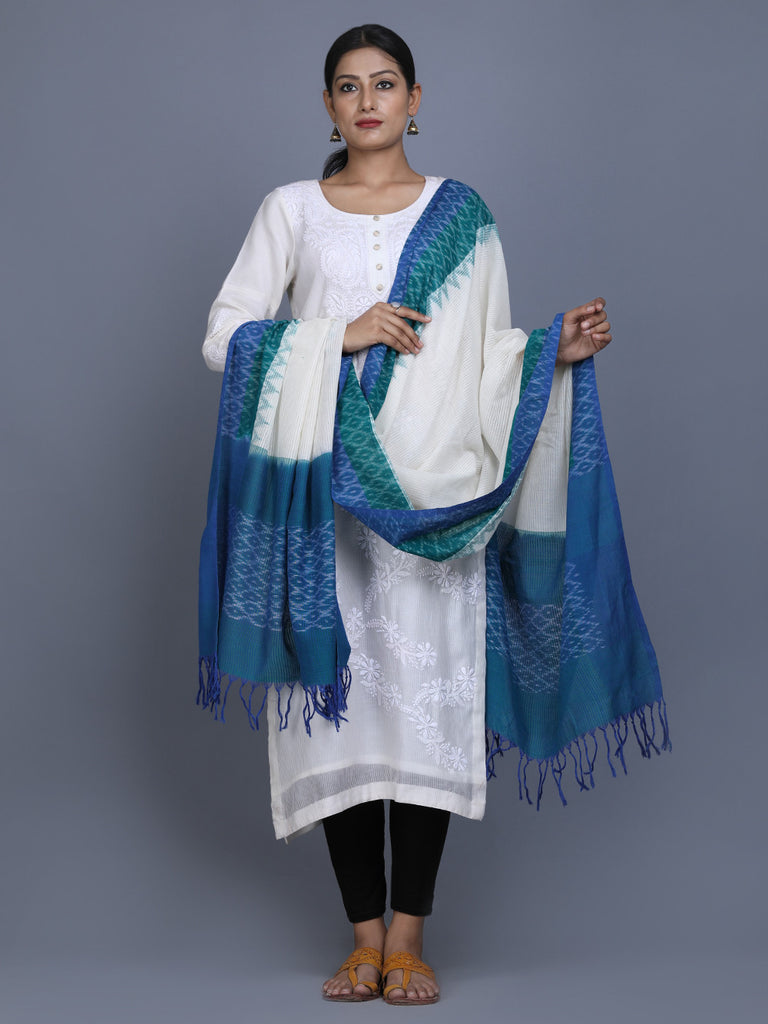 White Blue Green Cotton Ikat Dupatta