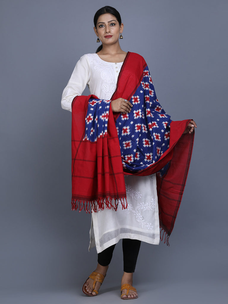 Blue Red Cotton Ikat Dupatta