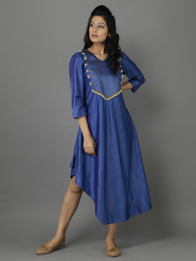 Blue Cotton Silk Asymmetrical Tunic