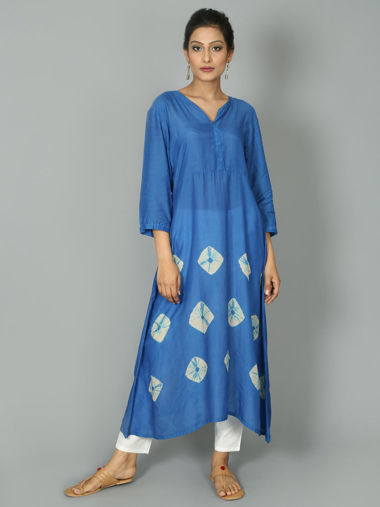 Blue Cotton Silk Bandhej Tunic