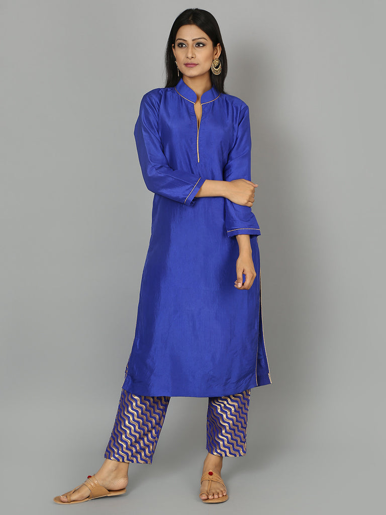 Blue Silk Kurta with Pants - Set of 2