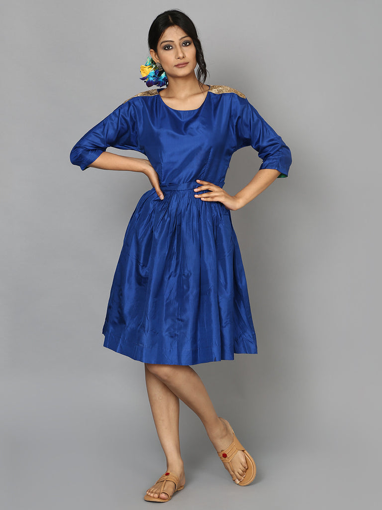Blue Silk Shoulder Detail Dress