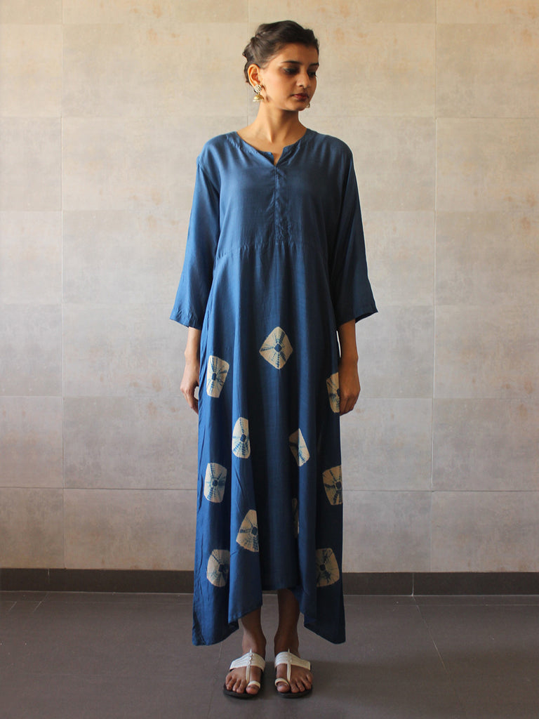 Blue Cotton Silk Yoke Bandhej Dress