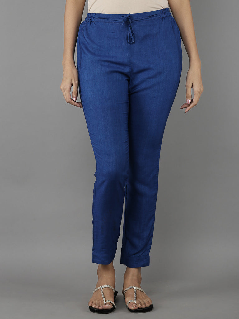 Blue Tussar Cotton Trousers