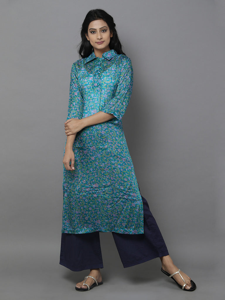 Blue Vintage Chintz Silk Kurta